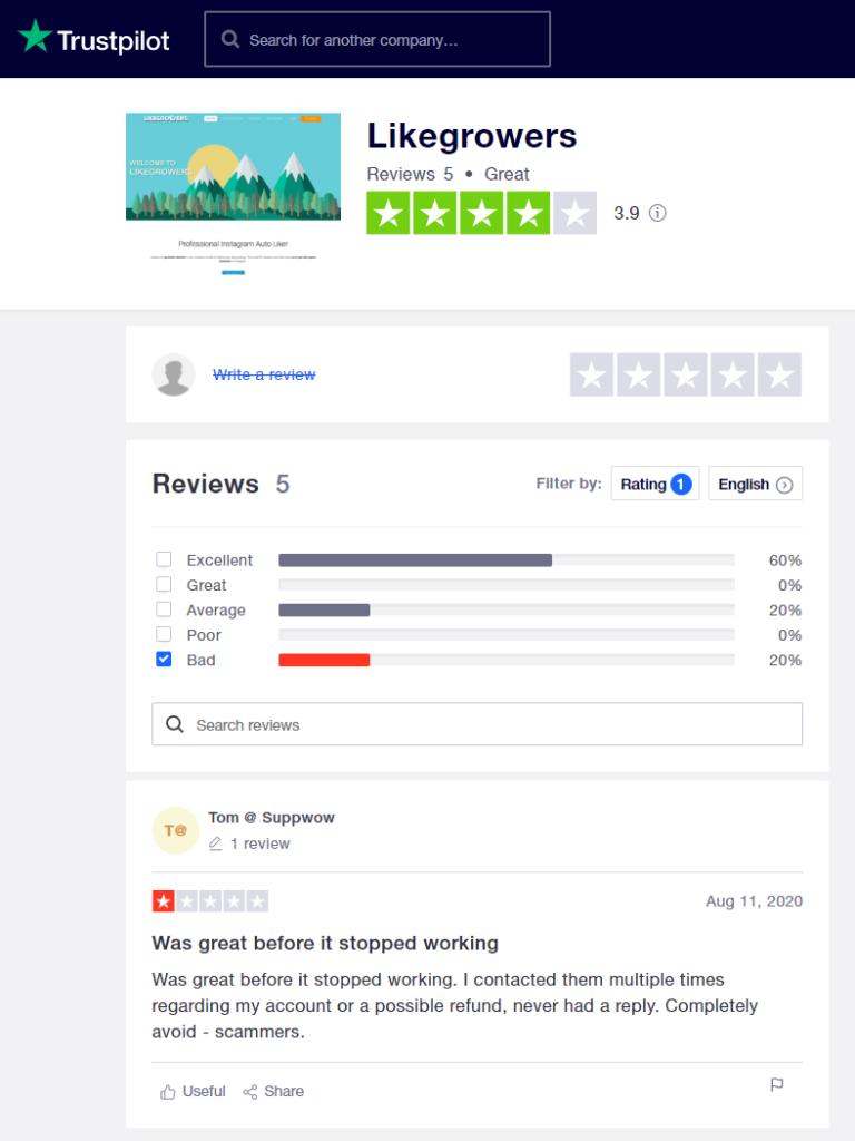 Likegrowers Trustpilot Reviews