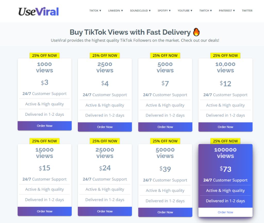 UseViral TikTok views Pricing