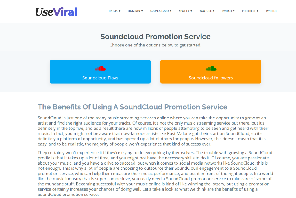 UseViral Soundcloud Promotion Service