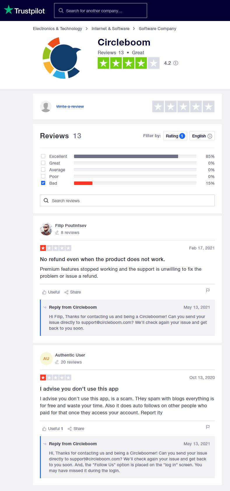 Circleboom - Trustpilot reviews